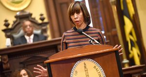 On her 100th day in office, Baltimore Mayor Catherine Pugh delivers her State of the City address Thursday at City Hall. The speech covered a variety of topics, including her plans to address crime, homelessness and economic development. The tradition of giving the address is a relatively new one in Baltimore started by then-Mayor Martin O'Malley.  (The Daily Record / Maximilian Franz)