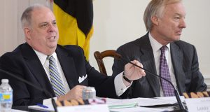 Gov. Larry Hogan and Comptroller Peter Franchot. (The Daily Record / Maximilian Franz)