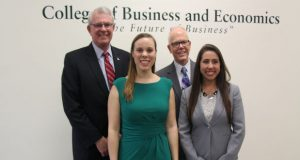 From left, SECU president and CEO Rod Staatz, Associate 2017 winner Lillian Hulbert, SECU executive vice president and COO Michael Gordy and Associate 2017 winner Jully Antunes. (from Towson University)