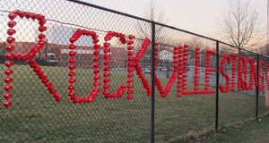 Plastic cups spell out Rockville Strong, at Rockville High School in Rockville, Maryland, on Thursday, March 23, 2017. The school has been thrust into the national immigration debate after a 14-year-old student said she was raped in a bathroom, allegedly by two classmates, including one who authorities said came to the U.S. illegally from Central America. (AP Photo/Brian Witte)