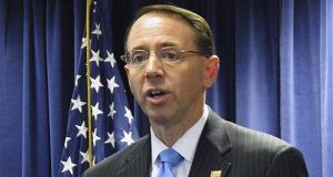 FILE - In this Jan. 10, 2017 file photo, Maryland U.S. Attorney Rod Rosenstein in Greenbelt. (AP Photo/Brian Witte, File)