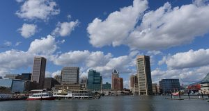 Some of the city's Class A office space can be seen by the Inner Harbor. (The Daily Record / Maximilian Franz)
