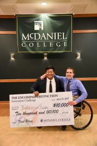 Freshman Justin Arter and junior Louis Schaab won McDaniel's Innovation Challenge. (From McDaniel)