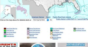 This screenshot depicts some of the colors used by the National Weather Service to communicate weather hazards.