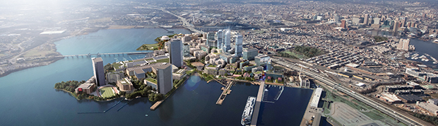 A new rendering of the proposed Port Covington development provides perspective on the impact of its skyline. (Courtesy of Sagamore Development Co.)