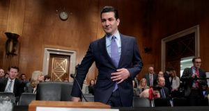 Dr. Scott Gottlieb, President Donald Trump's nominee to head the Food and Drug Administration, appears at his confirmation hearing before the Senate Committee on Health, Education, Labor, and Pensions, on Capitol Hill in Washington in April.