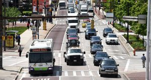 More bus-only lanes, such as this one already operating on Pratt Street, will help improve Baltimore's bus service, officials hope. (The Daily Record / Maximilian Franz)