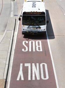 A bus-only lane in Baltimore. (The Daily Record / Maximilian Franz)