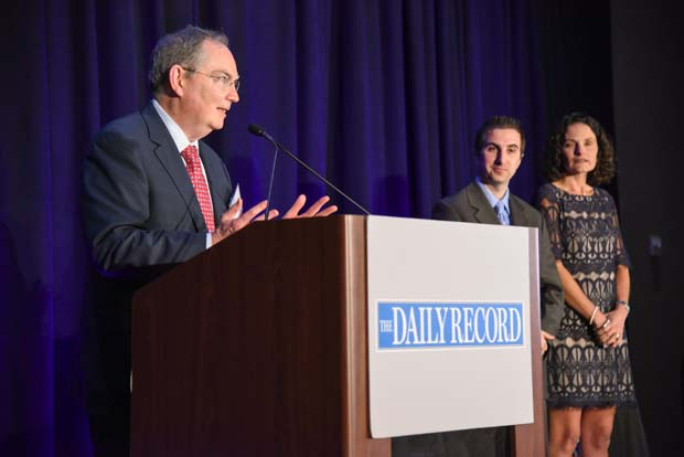 The Honorable Christopher B. Kehoe accepting his Top Winner Award. (The Daily Record / Maximilian Franz)