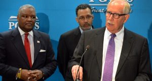 Prince George's County (Md.) Public Schools has seen a spike in the number of employees placed on leave for alleged abuse or neglect. Pictured is schools chief Kevin Maxwell speaking at a news conference in 2016. Behind Maxwell is Prince George's County Executive Rushern Baker, left, and Prince George's County Board of Education Chairman Segun Eubanks. MUST CREDIT: Photo for The Washington Post by Mark Gail