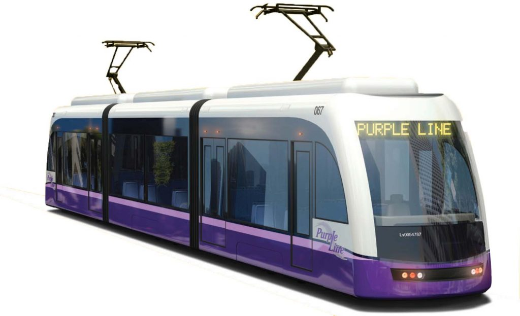 An image of a Purple Line Train from a 2015 Maryland Transit Administration brochure. (Maryland Transit Administration)