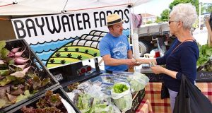 Tim fields, manager at Baywater Farms in Salisbury, which specializes in greens, makes a transaction with Salisbury resident Sue drew at the Camden Avenue Farmers Market, which has been held every Tuesday near Salisbury University for the past 10 years. (The Daily Record / Maximilian Franz)