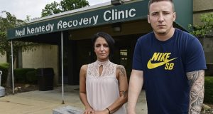 "Niki Campana, left, and Paul Wright stand together outside the Neil Kennedy Recovery Clinic, Thursday, June 15, 2017, in Youngstown, Ohio. Republican efforts to roll back ""Obamacare"" are colliding with the opioid epidemic. Cutbacks would hit hard in states that are deeply affected by the addiction crisis and struggling to turn the corner. The issue is Medicaid, expanded under former President Barack Obama. Data show that Medicaid expansion is paying for a large share of treatment costs in hard hit states. (AP Photo/David Dermer)"