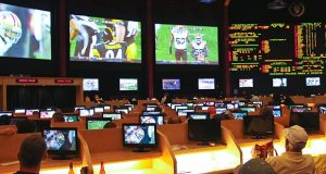 Sports betting at Caesars Palace in Las Vegas in 2013. Nevada currently is the only state where single-game wagering is legal. But should the U.S. Supreme Court uphold a New Jersey's law legalizing such betting at the state's racetracks and casinos, it could lead to a nationwide repeal of a federal sports betting ban. (DepositPhotos/NickNick)