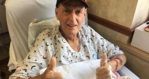 Md. House Speaker Michael E. Busch gives the thumbs up from his hospital bed in a June 6 photo posted on Facebook by the Maryland Democratic Party. Busch is recovering from liver transplant surgery performed on Thursday.