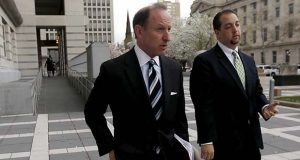 In this April 22, 2015, file photo, Abbe Lowell, left, attorney for U.S. Sen. Bob Menendez, walks out of Martin Luther King Jr. Federal Court with Menendez' press secretary Steve Sandberg following a pretrial hearing for the senator in Newark, N.J. Jared Kushner, the son-in-law of President Donald Trump, has picked Lowell to represent him in Russia-related investigations before Congress and Special Counsel Robert Mueller. Kushner has not been accused of wrongdoing, and there's no indication he's at risk of being charged. (AP Photo/Julio Cortez, File)
