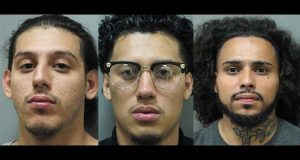 In a composite image made of June 2017 booking photos provided by the Montgomery County (Md.) Police Department, Edgar Garcia-Gaona, 24, left, Roger Garcia, 19, center, and  Jose Canales-Yanez, 25, are shown. (Montgomery County Police Department via AP)