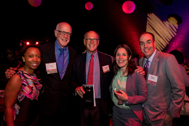 From left, Shanaysha Sauls, left, executive director of the Baltimore Leadership School for Young Women; Paul Wolman; Larry Rivitz, a senior adviser with Green Street Academy; Courtney Cass, the executive director of Teach For America – Baltimore; and Roger Schulman, president and CEO, The Fund for Educational Excellence, pose for a photo during the second annual Heart of the School Awards. (Photo courtesy of The Fund For Educational Excellence)