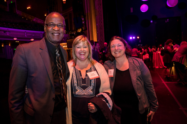From left, Roger Shaw, an administrator with Baltimore City Public Schools; Laura Weeldreyer, the chief program officer at Johns Hopkins Center for the Social Organization of Schools; and Lisa Bishop, a grants officer with the Corporation for National And Community Service, were in the crowd at the Hippodrome Theater. (Photo courtesy of The Fund For Educational Excellence)