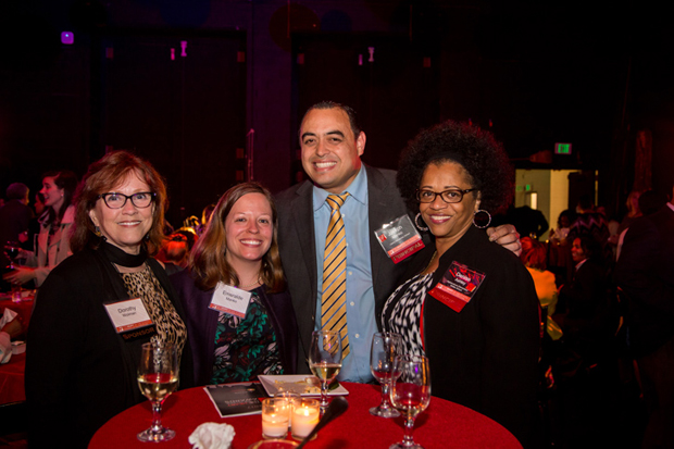 From left, Dorothy Wolman; Emeralde Manko, a visual arts teacher at Gwynns Falls Elementary; Joe Manko, the principal of Liberty Elementary School; and Denise Ashley, the principal of Highlandtown Elementary/Middle School helped honor their colleagues during the second annual Heart of the School Awards. (Photo courtesy of The Fund For Educational Excellence)