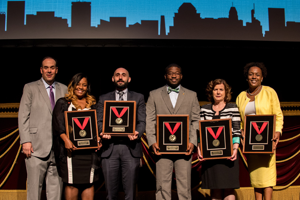 Roger Schulman, far left, president and CEO of the Fund for Educational Excellence, stands with the five principals honored at the second annual Heart of the School Awards. Honored at the event were, from left, Crystal Harden-Lindsey, Green Street Academy; Christophe Turk, George Washington Elementary; Samuel Rather II, Calvin M. Rodwell Elementary; Roxanne Forr, Cecil Elementary School; and Tammatha Woodhouse, Excel Academy at Francis M. Wood Alternative High School. (Photo courtesy of The Fund For Educational Excellence)