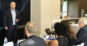 Jason Stambaugh of the Mid-Atlantic Gigabit Innovation Collaboratory Inc. pitches a smart home concept to judges in the Point Breeze Credit Union community care challenge. (Point Breeze Credit Union submitted photo)
