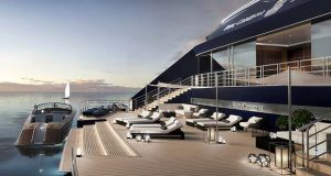 This rendering depicts a marina on a Ritz-Carlton Yacht (Image: The Ritz-Carlton)