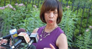 Baltimore Mayor Catherine Pugh talks with reporters afrter meeting with Gov. Larry Hogan Monday to discuss ways to combat violence in the city. (Bryan P. Sears)