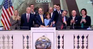 Representatives of Condor Hospitality Trust Inc. of Bethesda rang the NYSE's ceremonial bell in July 2017 to celebrate the company's new listing on NYSE MKT. (Screenshot from NYSE video)
