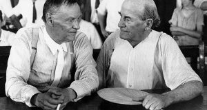 FILE - In this July 1925 file photo, Clarence Darrow, left, and William Jennings Bryan speak with each other during the monkey trial in Dayton, Tenn. On Friday, July 14, 2017, at the Rhea County Courthouse in Dayton, the public will behold a 10-foot statue of the rumpled skeptic Darrow, who argued for evolution in the 1925 trial. It will stand at a respectful distance on the opposite side of the courthouse from an equally huge statue of Bryan, the eloquent Christian defender of the biblical account of creation, which was installed in 2005. (AP Photo, File)