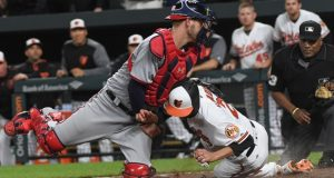 Nationals catcher Matt Wieters, left, tags out Orioles shortstop J.J. Hardy to end the 11th inning in May at Camden Yards. Washington Post photo by Toni L. Sandys