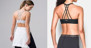 """Lululemon claims the design of its $52 Energy Bra, left, with four straps criss-crossing in the back, has been illegally copied by Under Armour in four of its sports bras, including the Armour Strappy, right. Under Armour says it """"takes the intellectual property rights of others very seriously."""" (Screenshots)"""