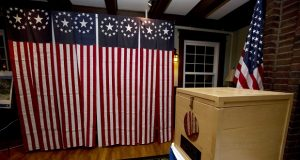 FILE - In this Nov. 7, 2016 file photo, a ballot box is set for residents to vote at midnight in Dixville Notch, N.H. A request for detailed information about every voter in the U.S. from President Donald Trump's voting commission is getting a rocky reception in the states. (AP Photo/Jim Cole, File)