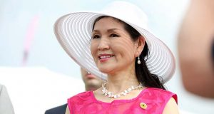 "FIrst Lady Yumi Hogan participates in an event at Pimlico in May 2017. (Flickr / Maryland GovPics / ""Black Eyed Susan Day at Pimlico"" https://flic.kr/p/TPvFcn / CC BY 2.0 https://creativecommons.org/licenses/by/2.0/ / cropped and resized)"