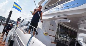 8-3-17 BALTIMORE, MD- Justin Freund, and other employees with Ships Ahoy Inc., detail a $2 Millon 2017 Azimuth 54 Yacht at the Harbor East Marina in preparation for the MarineMax Luxury Yacht Expo on August 4 and 5. The show will feature brands such as Galeon, Sea Ray, and Azimut and exclusive incentives will only be on the table during the showcase. Photo By Maximilian Franz.   (The Daily Record/Maximilian Franz)