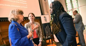 From left, Retired Court of Appeals Judge Lynn Battaglia, Lydia Lawless, Bar Council for the Attorney Grievance Commission of Maryland, and incoming law student Obiora Ajukwu speak after the opening panel discussion at the University of Maryland Francis King Carey School of Law orientation on Thursday. (Maximilian Franz/The Daily Record)