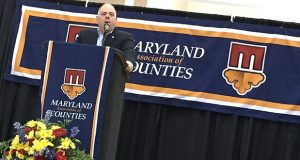 Governor Larry Hogan speaks during the 2016 annual meeting of the Maryland Association of Counties  (The Daily Record / Bryan P. Sears)
