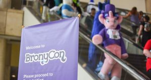 8-11-17 BALTIMORE CITY, MD- About 10,000 fans of the animated TV series 'My Little Pony: Friendship is Magic' will decent upon Baltimore this weekend at Bronycon 2017. Now in its 6th year, the event offers a weekend long spectacle of show guests, panel discussions, vendors, screenings, contests, BronyPalooza and more. (The Daily Record/Maximilian Franz)