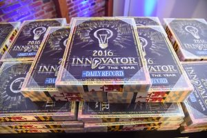 A display of Innovator of the Year awards from The Daily Record's 2016 awards event. The winners of the 2017 awards will be celebrated at a reception Oct. 18.