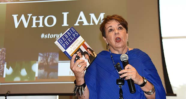 Deborah Phelps, keynote speaker at the leadership summit, talks about her memoir titled 'A Mother for All Seasons.' (The Daily Record / Maximilian Franz)