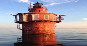 Craighill Channel Lower Range Front Light Station is located in the Chesapeake Bay approximately two miles offshore from North Point State Park at longitude 39.188614, latitude -76.394399.  (General Services Administration photo)