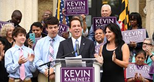 Kevin Kamenetz announces his candidacy for governor of Maryland on Monday. (The Daily Record / Maximilian Franz)