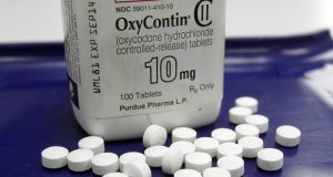 FILE - This Feb. 19, 2013 file photo shows OxyContin (oxycodone) pills arranged for a photo at a pharmacy in Montpelier, Vt. (AP Photo/Toby Talbot, File)