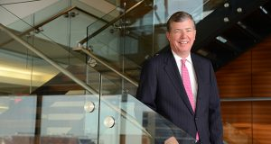 "John B. Frisch joined Miles & Stockbridge PC as summer associate in 1982. He became a full-time associate the following year and has ""had an uninterrupted love affair with the firm ever since,"" he said in an interview Thursday, after it was announced he would be stepping down as chairman and CEO after 15 years. (Maximilian Franz/The Daily Record)"