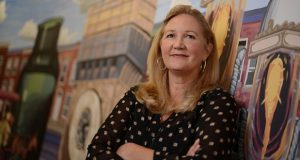 8-31-15 BALTIMORE, MD- Anne A. Balduzzi, Founder and Chief Marketing Officer at Samegrain. Portrait of her in front of a Baltimore themed mural at the ETC. (The Daily Record/Maximilian Franz)