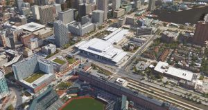 Aerial view of the  Baltimore Convention Center. Image courtesy of Google Earth. (PRNewsfoto/LMN Architects)
