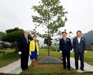 Members of the Maryland delegation also planted a tree to commemorate the signing of the sisterhood relationship with Jeollanam-do. (Governor's Office photo)