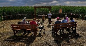 Sister George Ann Biskan leads a group of nuns and supporters during a prayer service in a chapel in a cornfield in Pennsylvania's Lancaster County. The chapel was built there as part of a protest against a pipeline. MUST CREDIT: Washington Post photo by Michael S. Williamson.