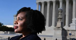 Tiffany Wright, seen in front of the Supreme Court in Washington D.C., clerked for Supreme Court Justice Sonia Sotomayor after overcoming a childhood of great adversity. MUST CREDIT: Washington Post photo by Matt McClain.