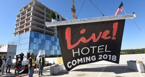 The final beam is hoisted to the top the Live Casino Hotel at Arundel Mills with a Coming Spring 2018 banner attached after owners, elected officials, and members of the construction team signed it during the official topping off ceremony. Anne Arundel Counties newest hotel and highest building at 17 stories, will house 310 luxury rooms, an event center, a day spa/salon, meeting spaces, and the new 24/7 dining establishment, David's Café. MF